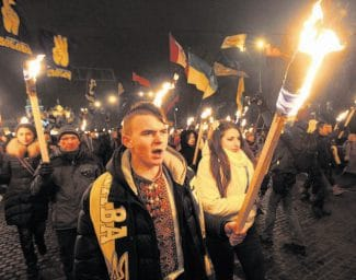 Ukrainian nationalists rally Wednesday in downtown Kiev, Ukraine. The rally was held on what would have been the 105th birthday of Stepan Bandera, founder of a rebel army that fought against the Soviet regime. Bandera was assassinated in Germany in 1959.