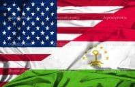 Waving flag of Tajikistan and USA