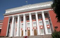 Classic examples of early Soviet architecture, such as the parliament building in Dushanbe, are rare in Central Asia. Residents fear this much-loved building will be next on the chopping block. (Photo: EurasiaNet)