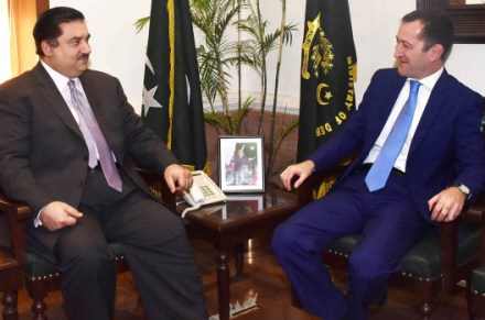 RAWALPINDI, DEC 05: Sherali Jononov, Ambassador of Tajikistan, called on Federal Minister for Defence Khurram Dastgir Khan.=DNA PHOTO