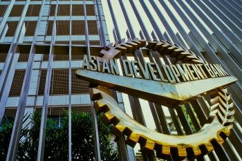The ADB seal at the Asian Development Bank building in the Philippines.